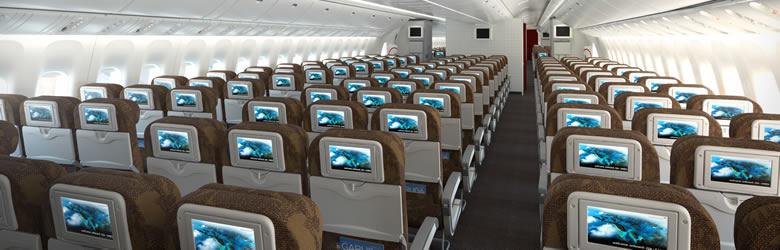 エコノミークラスのシート(一例)